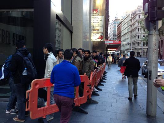 Apple's iPhone queue in Sydney is as long as ever