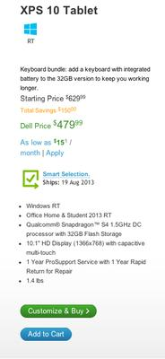 Dell drops $299 Windows RT tablet, cheapest offer now $479