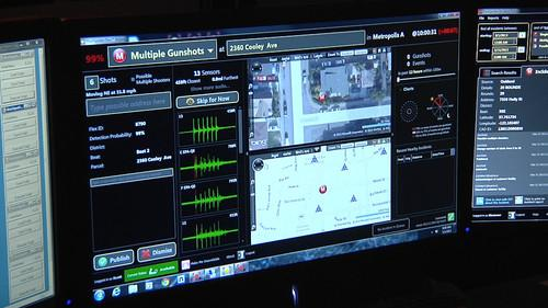 A screen at ShotSpotter's monitoring room in Newark, CA, shows the location of a gunshot detected by the company's sensors.