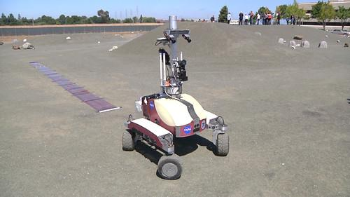 NASA's K10 rover is seen during a test at the NASA Ames Roverscape on July 26, 2013