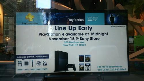 Sony's flagship store in New York welcomes people to line up for PlayStation 4, which will ship on Friday, Nov. 15