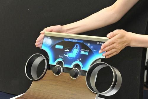 Sharp's prototype LCD Free-form Display can be made to fit virtually any shape. It could be used for high-resolution car dashboards.