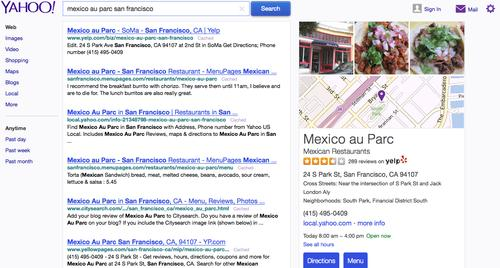 Yahoo search results include local business listings from Yelp.