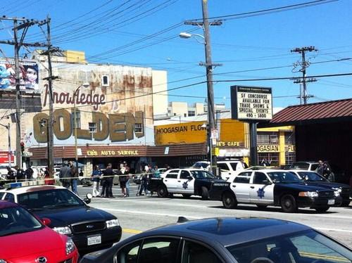 Police cars on Brannan Street in San Francisco following a shooting in which two people were killed