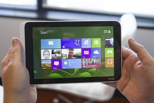 Held in landscape mode, the Acer Iconia W3 looks like any other small form factor tablet. Except with Windows, of course.