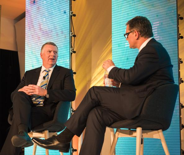 Westpac CIO Dave Curran (left) with IBM managing director ANZ Kerry Purcell