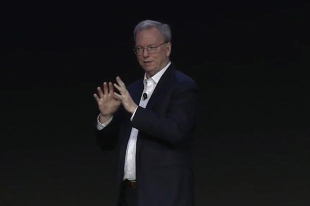 Eric Schmidt speaks at Google's GCP Next 2016 conference in San Francisco on March 23, 2016. Credit: Google/IDGNS