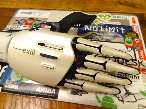 The Hackberry robotic hand is seen at startup Exiii in Tokyo June 5, 2015. Materials for the 3D-printed hands, designed for amputees and people born without hands, only cost around US$200.