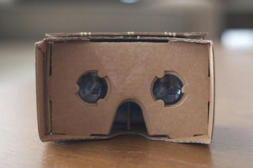 Google's Cardboard device for virtual reality applications, unveiled at Google I/O in 2014.