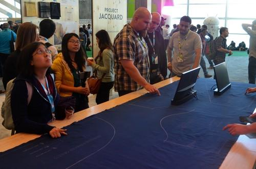 At Google I/O 2015, attendees could play around with the company's mysterious fabric for controlling connected devices like smartphones, light bulbs and 3D modeling software.