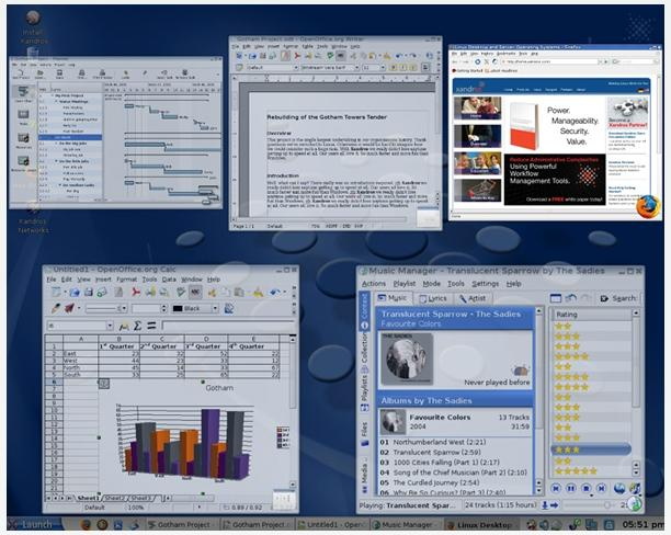 Xandros Desktop Professional includes the window tile effect