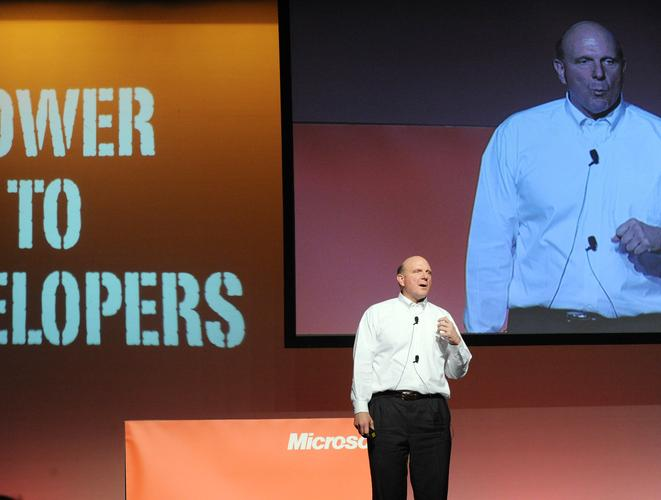 Microsoft CEO Steve Ballmer addressing a developer conference in Sydney