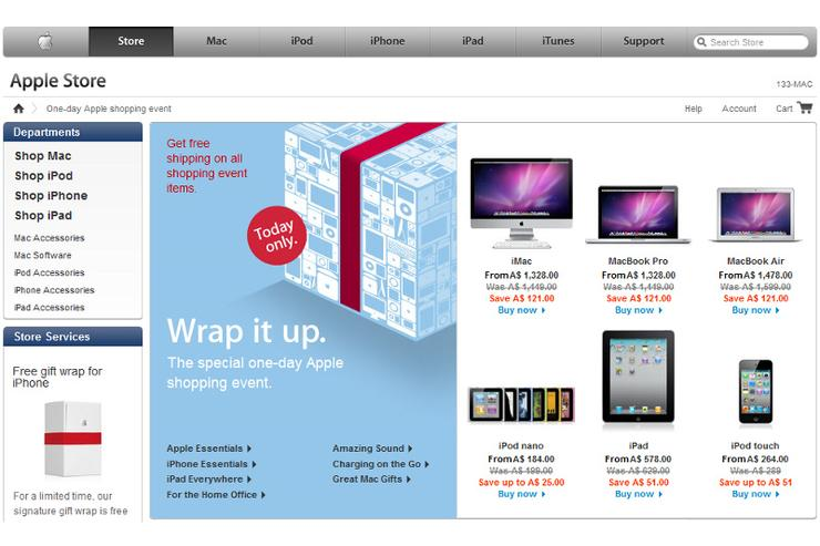 The online Apple store, as well as retail Apple stores, will be running the sale all day on November 26.