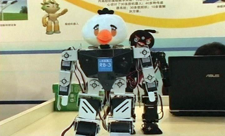 Angry Bird robots on show at the Beijing International High Tech Expo