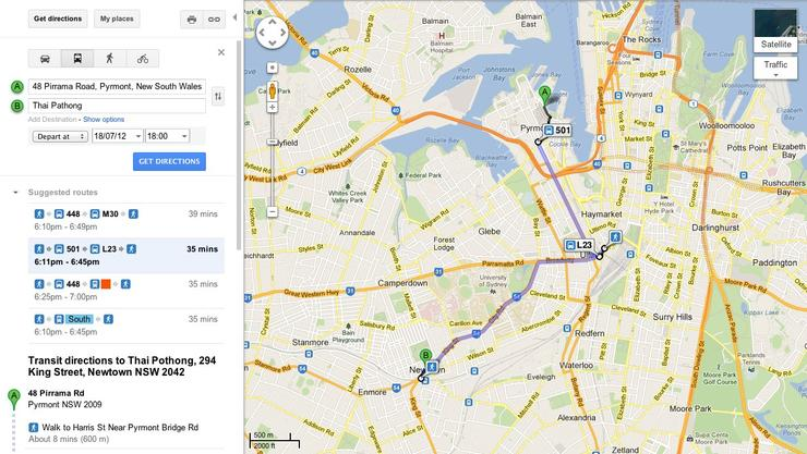 Google Maps in Sydney will now display public transport directions, it was announced today.