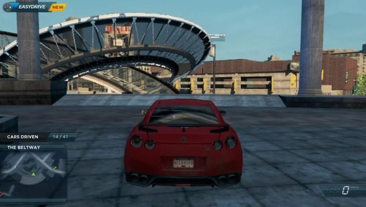 A Nissan GT-R explores the open game world of Need for Speed: Most Wanted