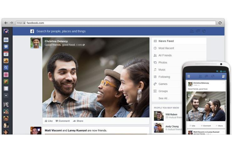 Facebook's new News Feed layout.