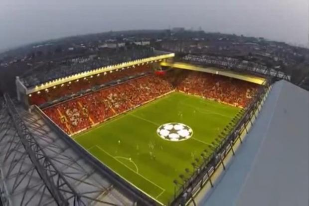 Anfield Stadium in Liverpool as seen from a drone confiscated for illegal flight. Credit: Metropolitan Police
