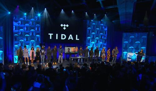 More than a dozen musicians including Jack White, Madonna and Kanye West joined Jay Z on stage for the launch of Tidal on March 30, 2015.