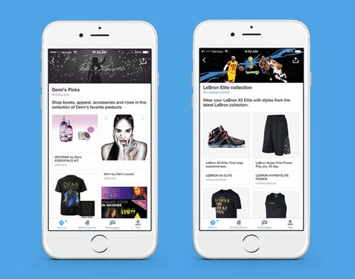 Twitter's new collections feature, pictured June 19, 2015, lets curators create listings of retail items and places.