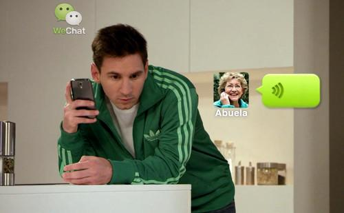 Soccer star Lionel Messi in WeChat's new advertisement