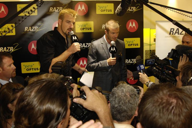 In Pictures: David Beckham launches Motorola's MOTORAZR2 V8 Luxury Edition