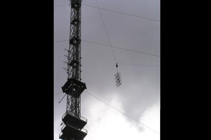 TXA Perth Tower's DAB+ antenna being installed