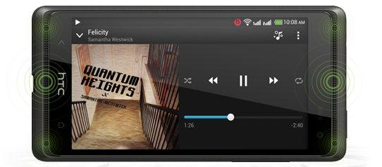 "The Desire 600 has dual-stereo speakers that sit above and below the display, called ""BoomSound""."