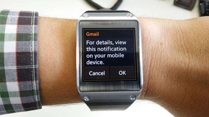 Notifications are laughably limited on the Galaxy Gear.