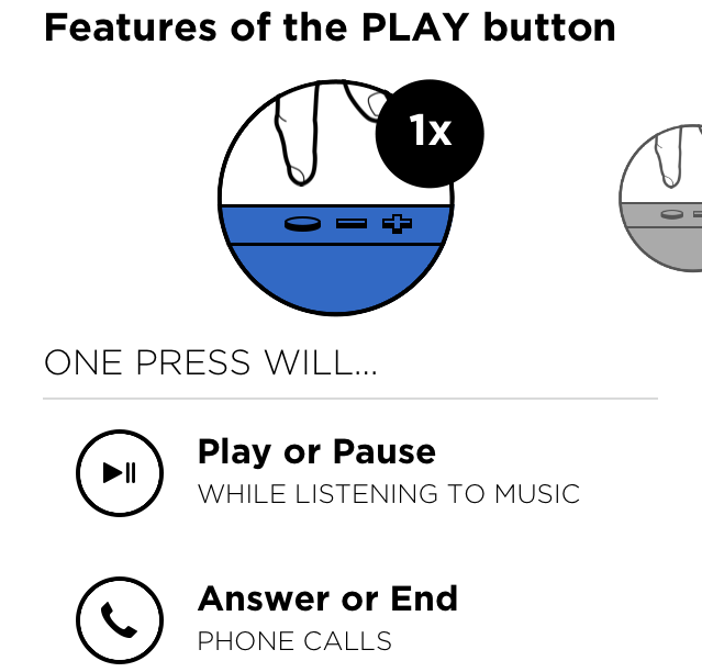 The iOS and Android app allows you to customise the Play button on the Mini Jambox.