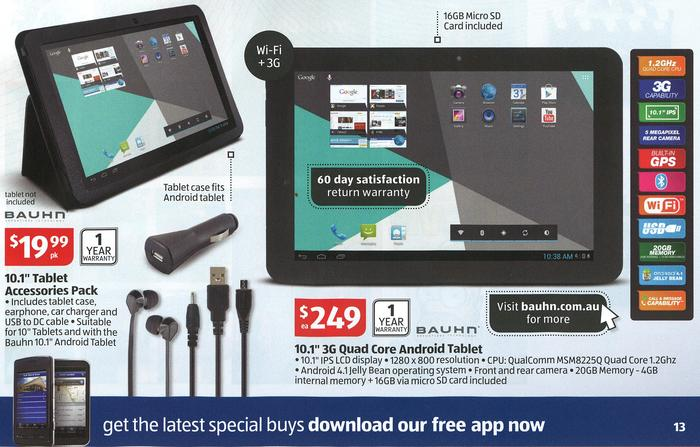 The Bauhn WL-101GQC Android tablet and tablet accessory pack, as it appears in Aldi's catalogue.