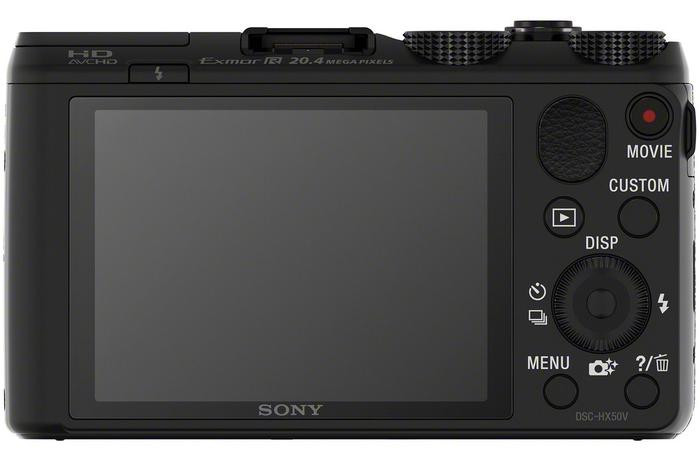 The rear face of the Sony HX50.