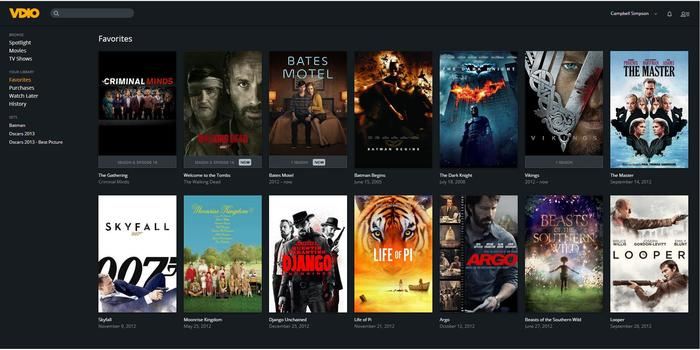 Like Rdio, you can choose Favourites using the heart symbol over any TV or movies on the grid.
