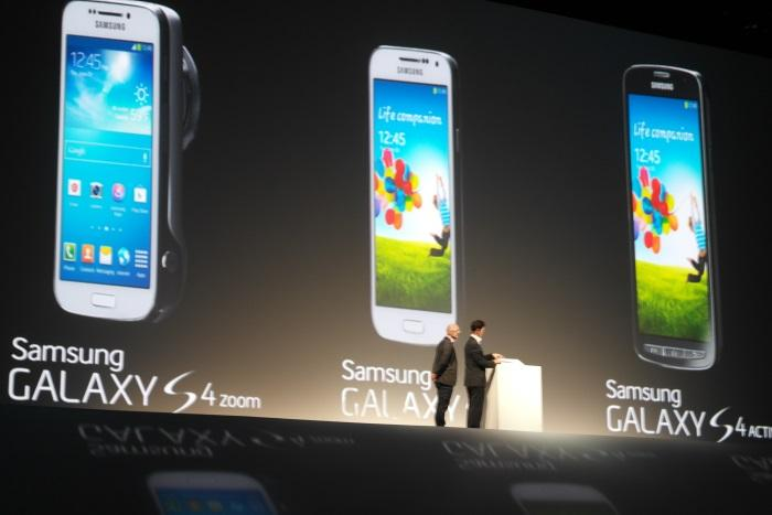 Three new phones: Galaxy S4 Zoom, S4 Mini and S4 Active.
