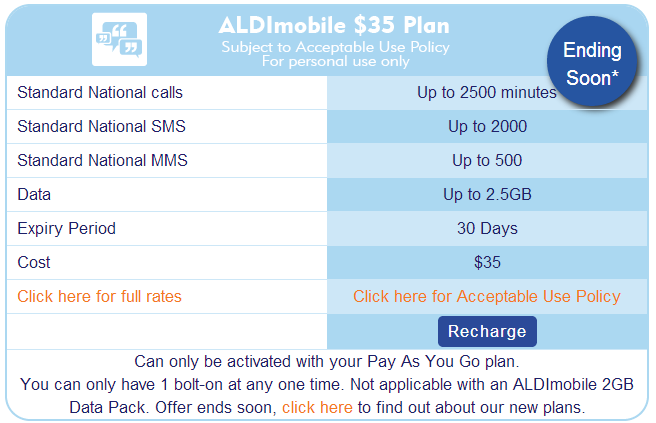 The old ALDImobile plan will be phased out on the 2 April