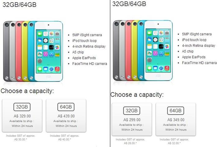 Before and after pricing of the premium iPod Touch models