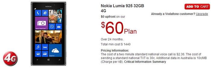 The 32GB Lumia 925, as it appears on Vodafone's Web site.