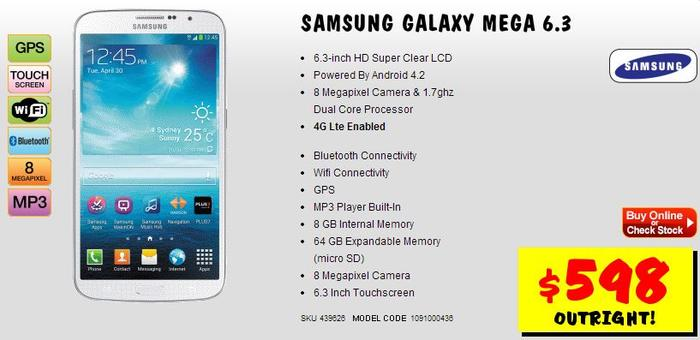 The Samsung Galaxy Mega 6.3, as it appears on JB Hi-Fi's Web site.