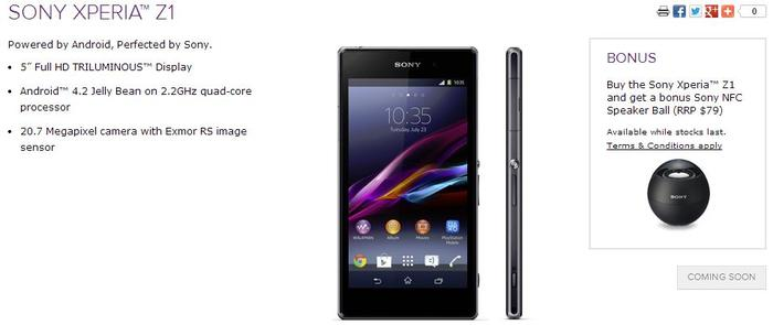 The Xperia Z1, as it appears on Virgin Mobile's Web site.