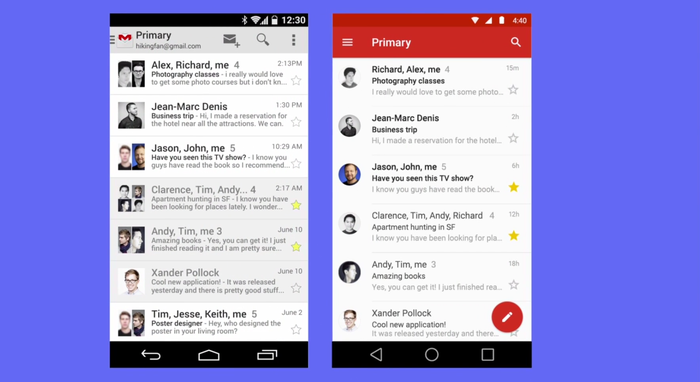 Old Gmail app compared to the new one