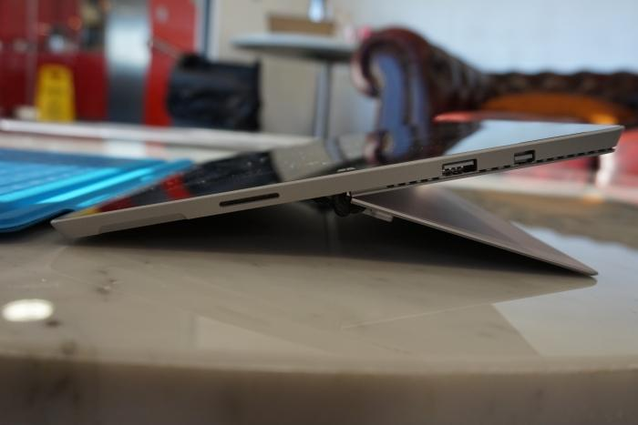 The hinge allows the Surface Pro 3 to sit at multiple angles, including this final angle.