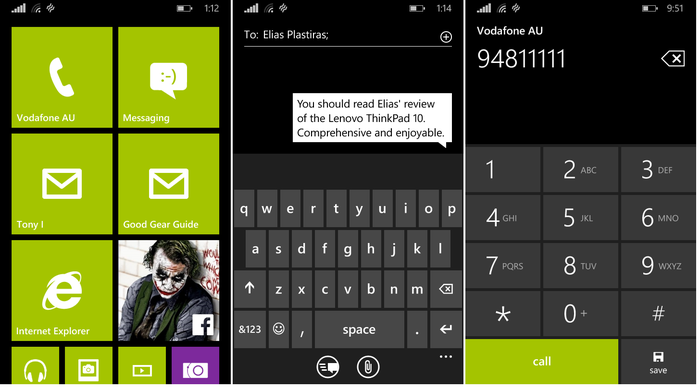 The Windows Phone 8.1 live tile interface, messaging and dialler