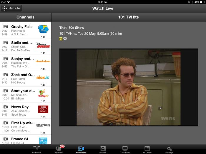 Watching subscription TV on a tablet.