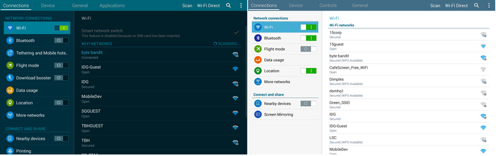 The Tab S' settings menu compared to the NotePro's