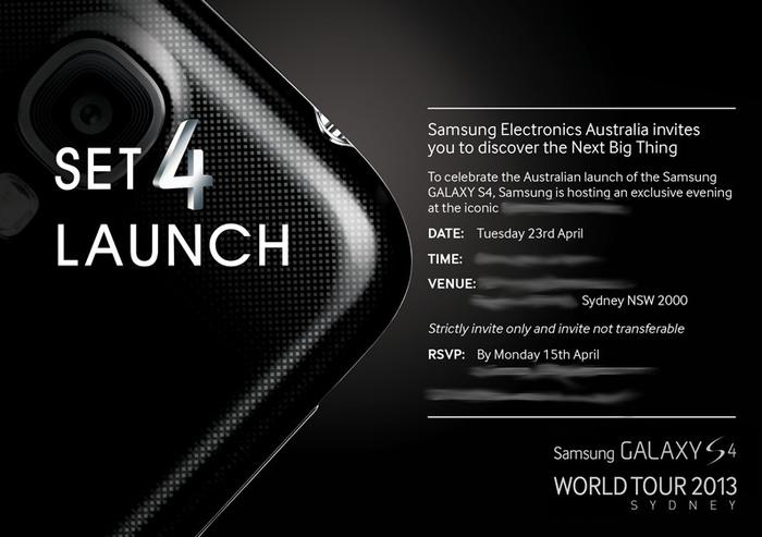 The Samsung Galaxy S4 launch invitation.