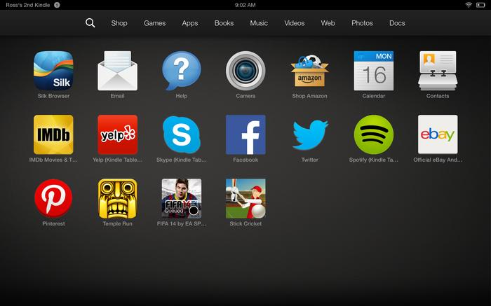 The Fire OS app drawer, accessible by swiping up from the bottom of the screen.