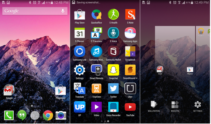 Google's KitKat launcher on the Galaxy S5