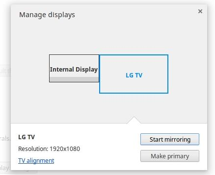 Click on the TV to change the way the output is displayed (extended or duplicated).