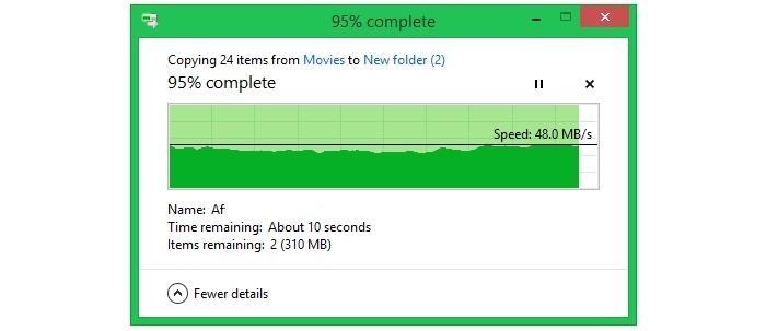 Transferring large files (video files) from close range.
