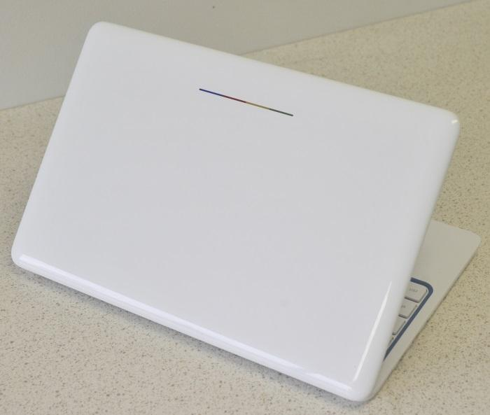 The HP Chromebook 11 has a clean, white look, but there is a splash of colour on the lid.